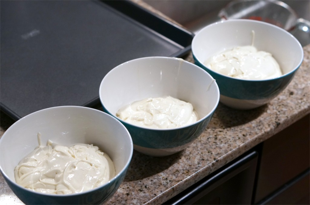 separate into batter into 3 bowls
